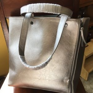 Neiman Marcus NEW double zipper silver gray tote